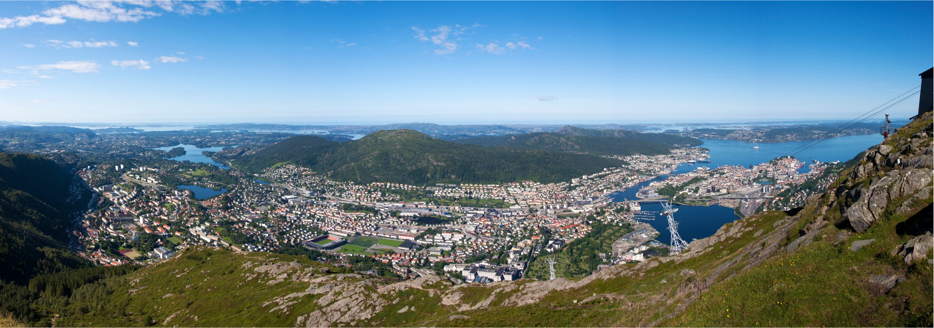 uninterrupted panoramic views of Bergen and the sea, fjords and mountains